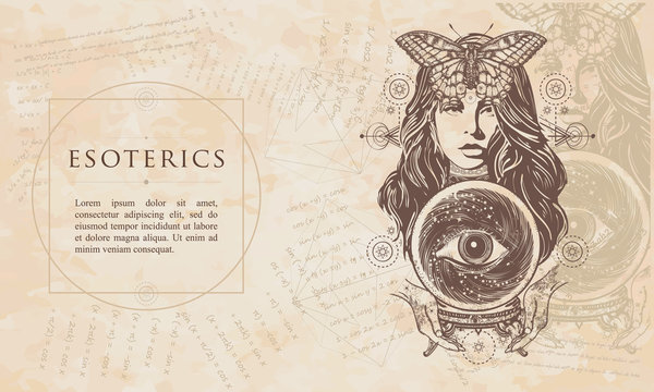 Esoterics. Beautiful witch woman. Fortune teller and crystal ball, mystic and magic. Renaissance background. Medieval manuscript, engraving art