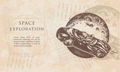 Space exploration. Astronaut drives car through Universe. Renaissance background. Medieval engaving manuscript. Vintage paper with drawings, vector