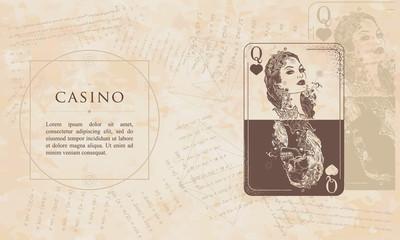 Casino. Queen playing card. Renaissance background. Medieval manuscript, engraving art