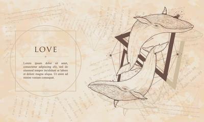 Love. Two whales geometric style. Renaissance background. Medieval manuscript, engraving art