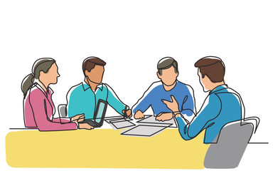 continuous line drawing of office workers at business meeting