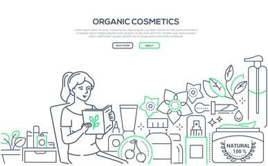Organic cosmetics- modern line design style web banner