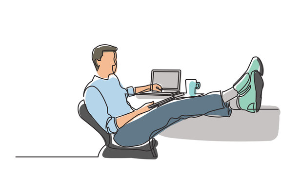 continuous line drawing of young man sitting with laptop-computer with his feet on desk