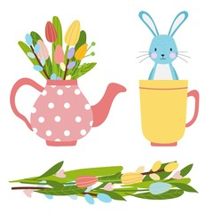 Easter vector elements for spring time made of flowers bouquet and pink tea pot with tulips and willow