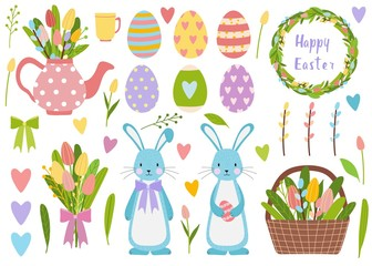 Big vector elements set. Spring time easter eggs, tulip flowers, bucket with flowers and willow. Cute teapot with bouquet and cartoon bunny character
