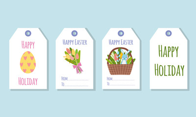Gift tags for the Easter holiday. Decorating gifts with spring elements.