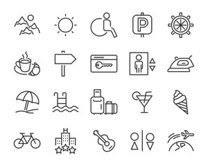 set of vacation icons, such as travel, summer, trip, holiday, beach, season
