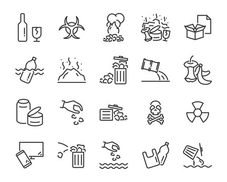 set of water pollution icons, such as, pollution, dirty, bin, plastic, industry waste , world water day, waste