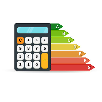 Energy efficiency rate graph with calculator. Flat design concept. Vector illustration