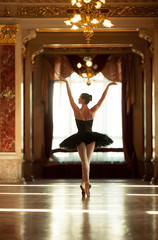 Beautiful ballerina dancing in a luxurious hall against the window.
