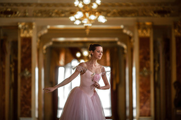 Beautiful ballerina dancing in a luxurious hall in a pink dress.