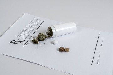 Medical Marijuana leaves Close Up Cannabis Buds with Doctors Prescription for Weed and pills on white background