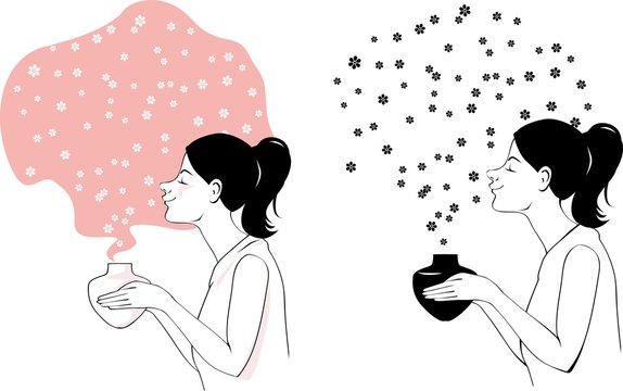 Woman using an aromatherapy diffuser, surrounded by an essential oil fragrance, EPS 8 vector illustration