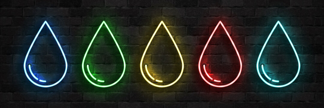 Vector set of realistic isolated neon sign of Water, Poison, Oil and Blood droplet logo for template decoration on the wall background.