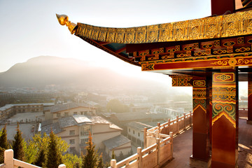 Display of traditional architecture overlooking town of Shangri-La