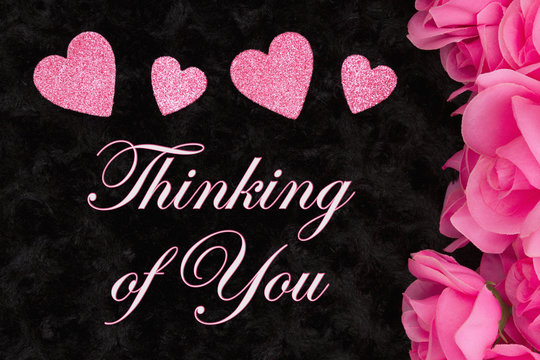 Thinking of You greeting with pink roses