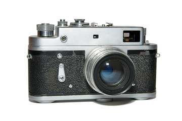Old vintage film camera. Isolated on white background.