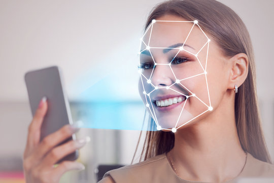 Businesswoman in office, face recognition