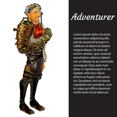 A card with a picture of adventurer isolated on white background and sample text. Smiling man in suit in the style of steam punk. Vector cartoon close-up illustration.