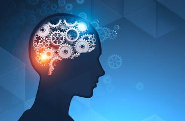 Man head silhouette with gear brain