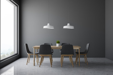 Gray dining room interior