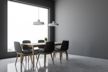 Gray dining room corner