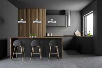 Gray and wooden kitchen with bar