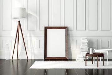 Dark vintage Wooden poster Frame Mockup standing on the floor in modern interior