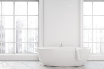 Minimalistic white bathroom interior