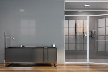Gray bathroom interior, tub and shower