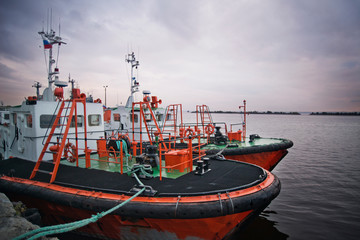 View of two boats anchored together