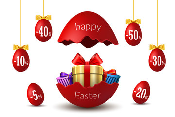 Easter eggs sale. Broken Happy Easter egg 3D template isolated on white background. Design banner, greeting, promotion, holiday decoration, special offer discount. Gold gift box. Vector illustration