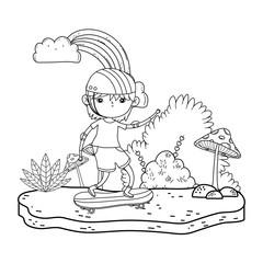 cute little boy mounted in skateboard in the landscape