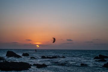 Jericoacoara, Ceará, Brasil. Outubro 2018. Pôr do sol na praia em Jericoacoara, nordeste brasileiro