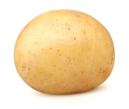 Isolated potatoes. One whole potato isolated on white background with clipping path
