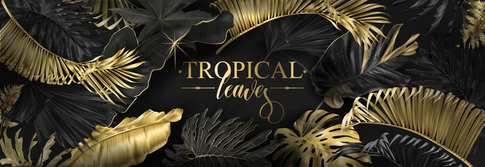 Vector horizontal banner with gold tropical leaves