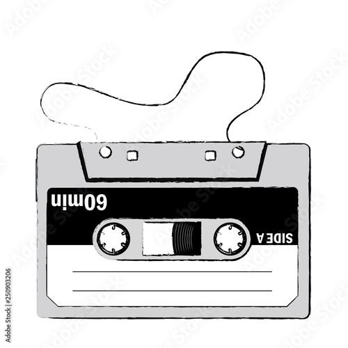 手描きタッチの色とりどりのカセットテープのイラストアナログ