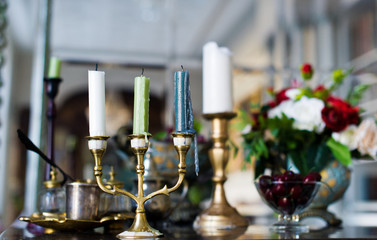 Vintage candelabra on the table in the interior