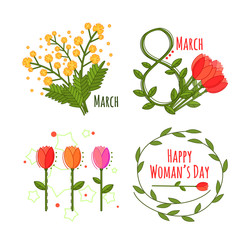 Woman's day set in cartoon style on white background, great design for any purposes. Spring flat set. Flat design vector illustration. Vector natural illustration.