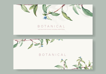 Social Media Banner Layouts with Botanical Illustrations