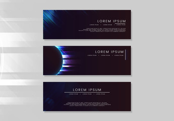Social Media Banner Layouts with Light Effects