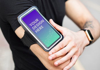 Man Wearing Smartphone on Armband Mockup
