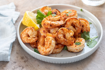 Spicy garlic chilli Prawns Shrimps with lemon and cilantro