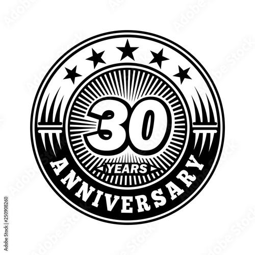 30 years anniversary  Anniversary logo design  Vector and