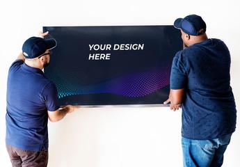 Movers Installing TV Monitor Mockup