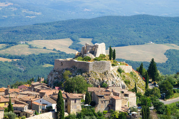 Rocca d'Orcia aerial view, Tuscan town, Italy