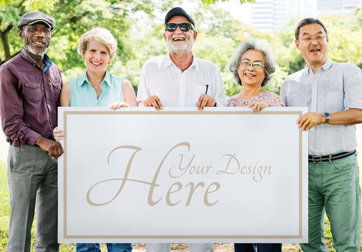 Group of People Holding Sign Mockup