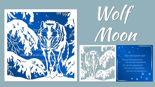 wolf, tree, spruce, winter. Vector illustration. Paper wolf sticker. Laser cut. Template for laser cutting and Plotter. Vector illustration. Sticker. Pattern for the laser cut, serigraphy, plotter and