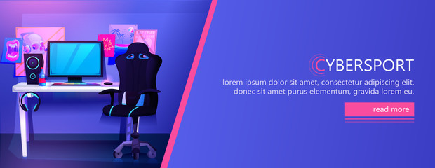 ESports interior banner. Workplace cyber sportsman gamer. A desk with a computer and headphones and a mouse with light and a gamers chair. Vector cartoon illustration