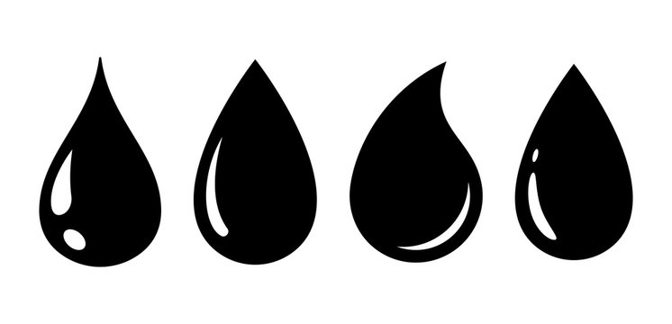 Water drop in flat style set. Vector